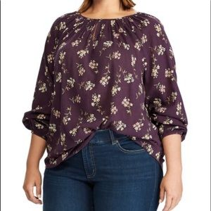 NWT CHAPS Plum Floral Bishop Sleeve Swing …